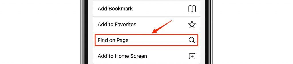 find on page in menu