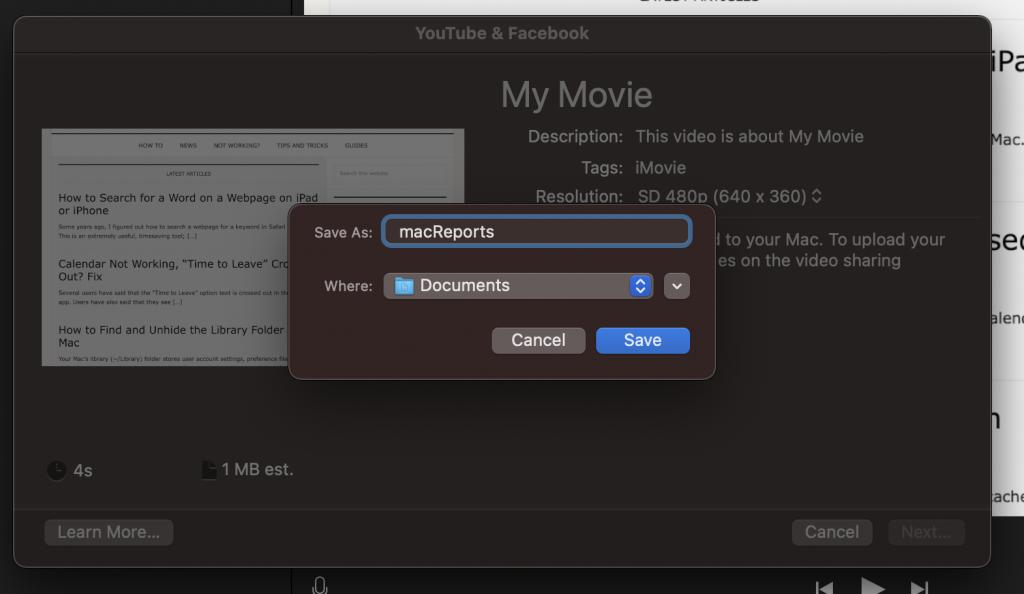 iMovie save