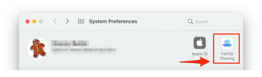 family sharing in system preferences
