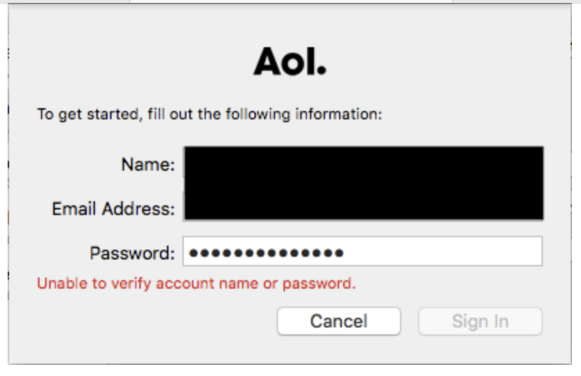 AOL Unable to verify