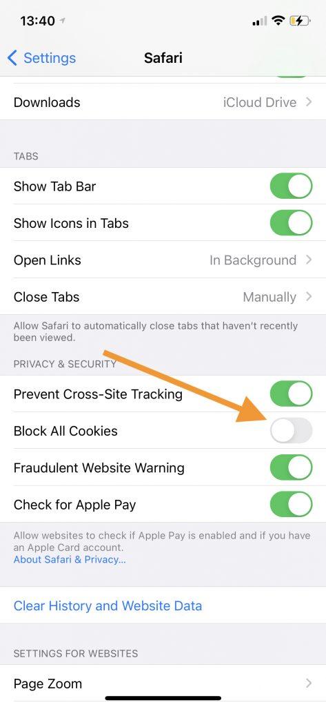 Block All Cookies option