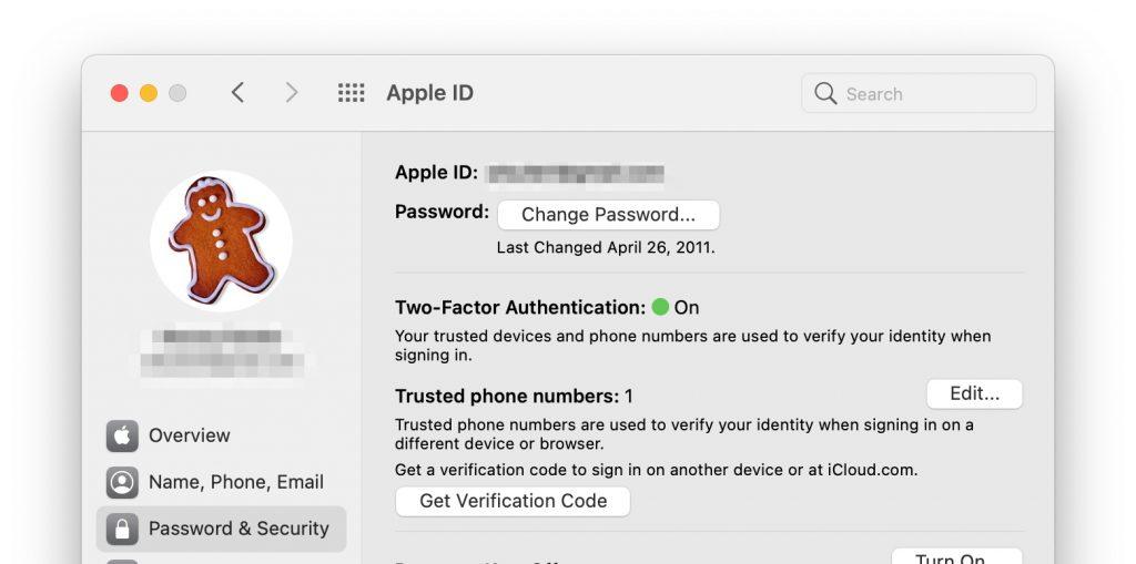 change password on Mac