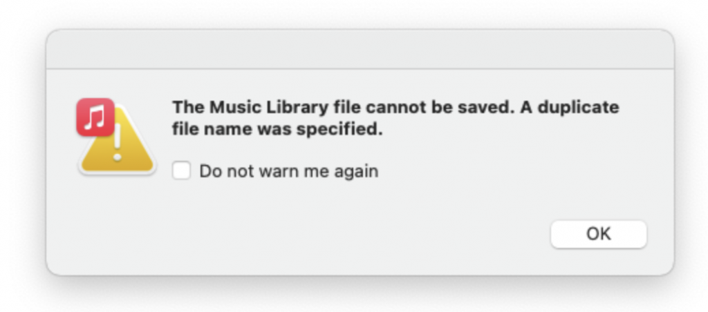 Music Library Cannot Saved error