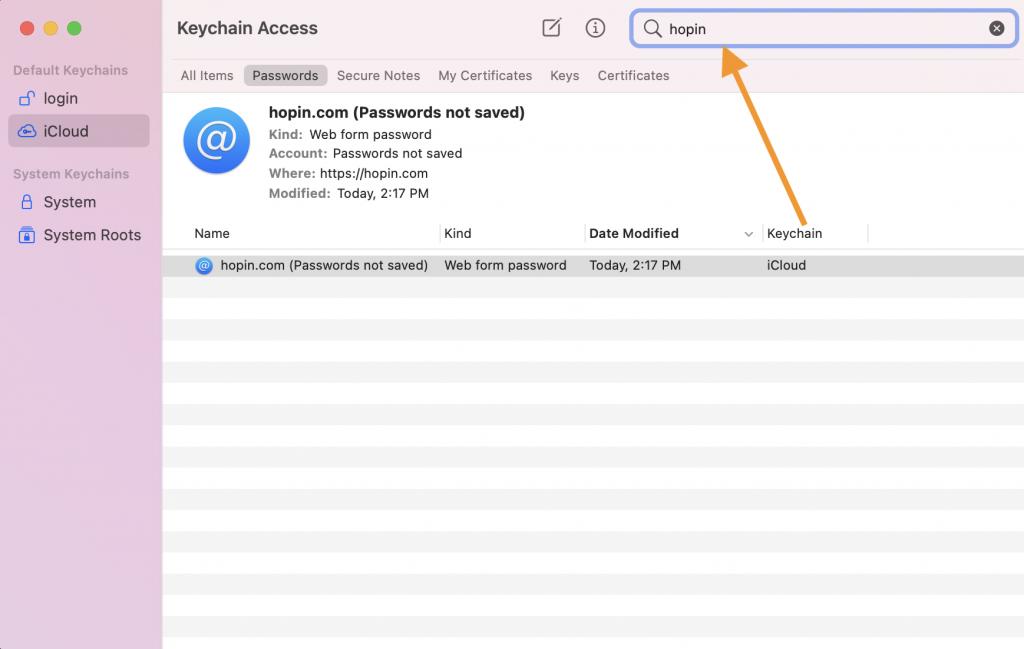 Keychain passwords
