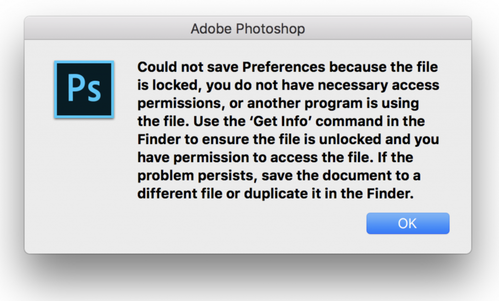 Adobe Photoshop Could not save Preferences because locked