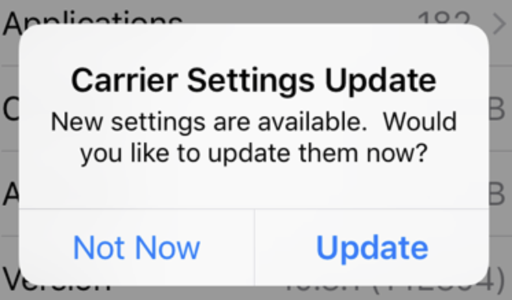 Carrier settings update