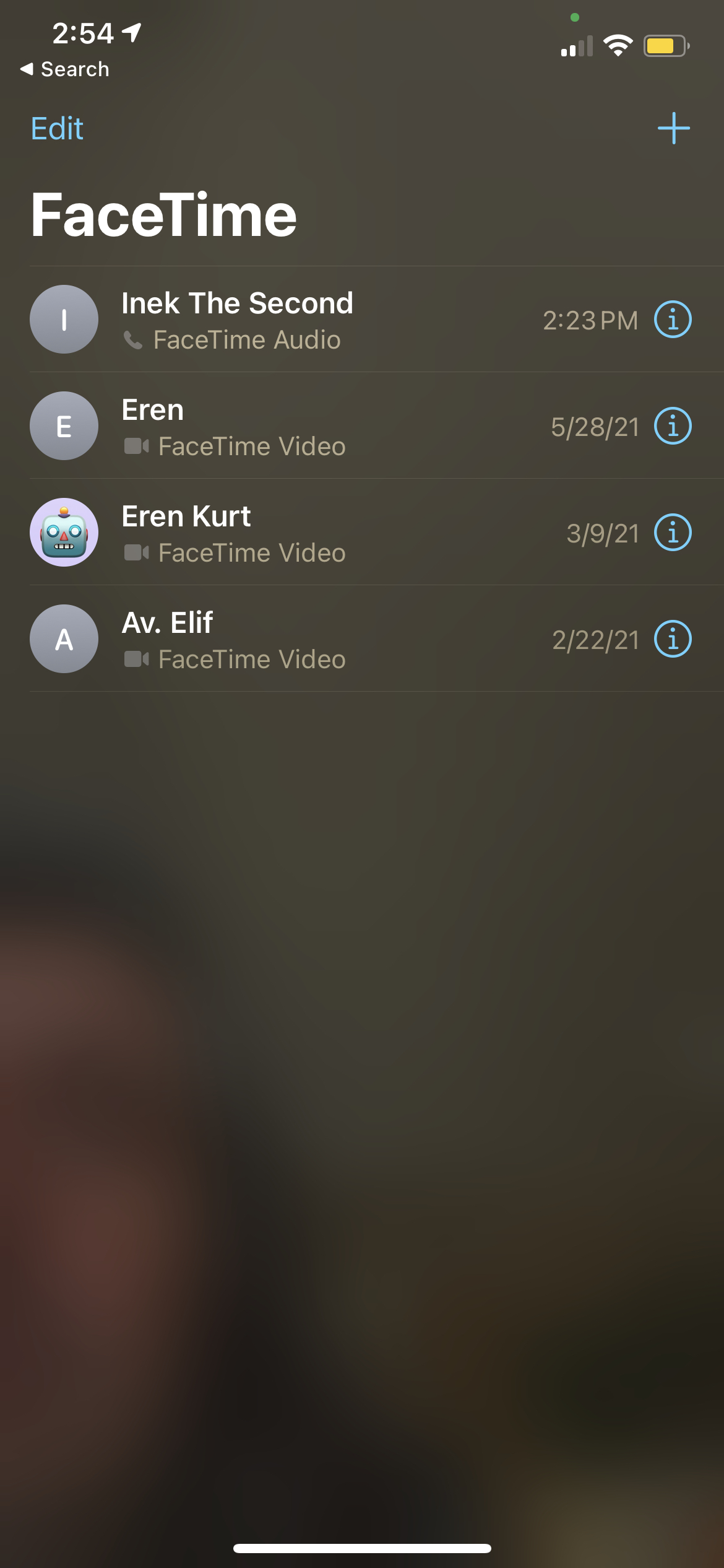 FaceTime call log