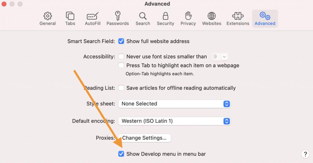 Safari Develop menu